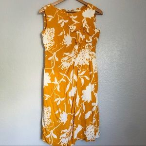 Vintage Malcolm Starr Yellow Floral Print Dress